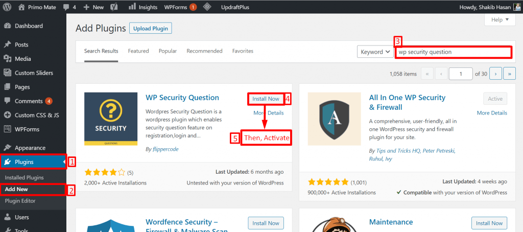 How  to install wp security plugin to add security question to the wordpress login screen