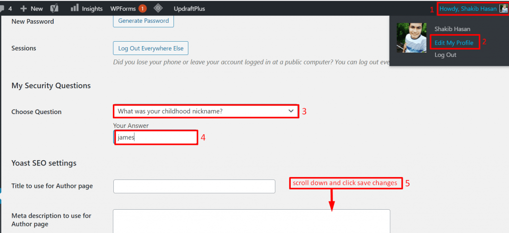 add security question to the wp login page