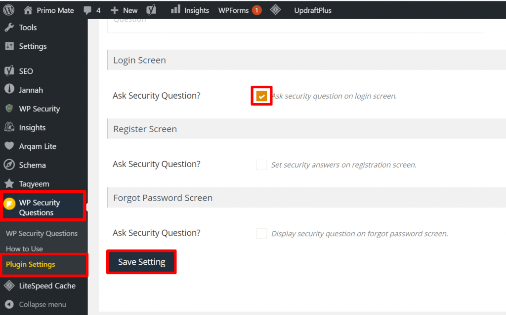 use of wp security question and add wordpress login screen