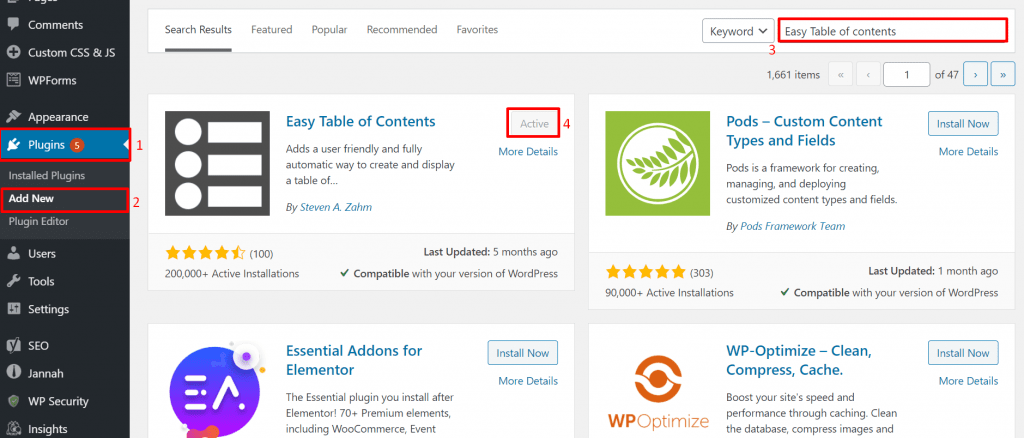 Install and activate easy table of contents