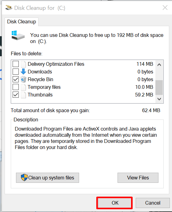 clean c drive to free disk space