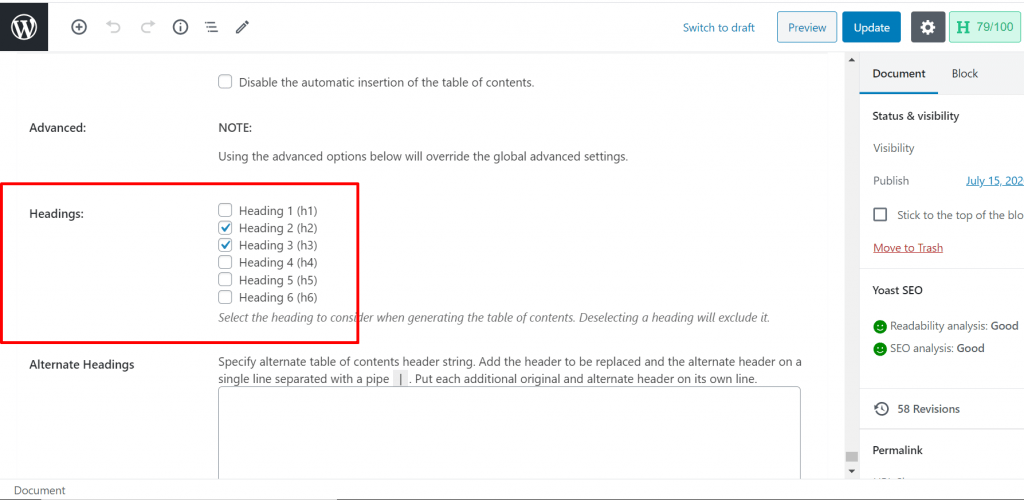 insert header as table of content on WordPress post