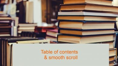 Table of contents on WordPress Website with smooth scroll