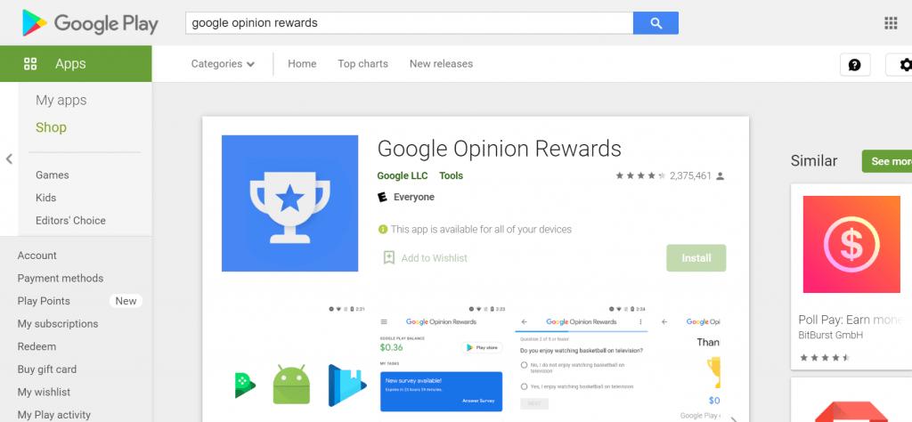 how to get free Robux through google opinion rewards